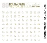 Stock vector vector graphic set icons in flat contour thin and linear design shop accessories for pets and 552264928