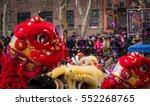Lion Dance And Confetti In A...