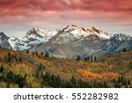 dawn landscape with fall color... | Shutterstock . vector #552282982