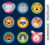 big set head of animals icons.... | Shutterstock .eps vector #552301135