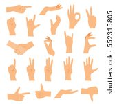 hands in various gestures. flat ... | Shutterstock .eps vector #552315805