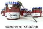 3D rendering of a collection of jam bottles and spoons - stock photo