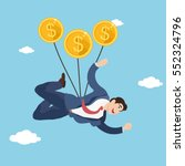 businessman flying with coins... | Shutterstock .eps vector #552324796