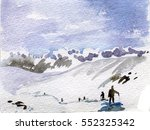 winter landscape with mountain... | Shutterstock . vector #552325342