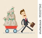 happy businessman pulling cart... | Shutterstock .eps vector #552327262