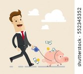 happy businessman leads a pig... | Shutterstock .eps vector #552345352