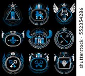 set of old style heraldry... | Shutterstock .eps vector #552354286