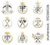 vintage weapon emblems set.... | Shutterstock .eps vector #552360136