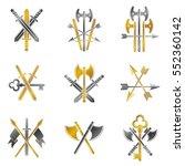 vintage weapon emblems set.... | Shutterstock .eps vector #552360142