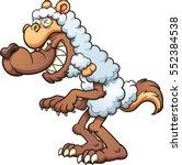 a cartoon wolf in sheep's... | Shutterstock .eps vector #552384538