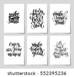 set of 6 hand written lettering ... | Shutterstock .eps vector #552395236