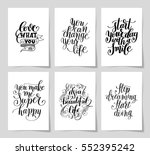 set of 6 hand written lettering ... | Shutterstock .eps vector #552395242