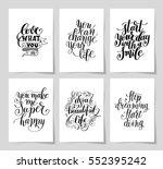 set of 6 hand written lettering ... | Shutterstock .eps vector #552395242