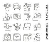 social network icons outline on ... | Shutterstock .eps vector #552432256