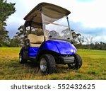 Blue Golf Cart  Empty