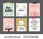 set of birthday greeting cards... | Shutterstock .eps vector #552436606