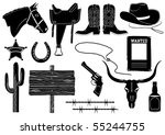 Silhouettes Of Cowboy Elements...