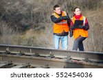 railroad workers maintaing... | Shutterstock . vector #552454036