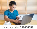 young man wearing casual cothes ... | Shutterstock . vector #552458332