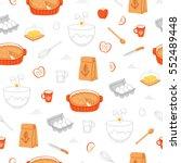apple pie ingredients seamless... | Shutterstock .eps vector #552489448