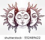 beautiful moon and sun with... | Shutterstock .eps vector #552489622