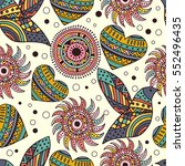 seamless pattern with feather... | Shutterstock .eps vector #552496435