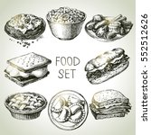 Hand Drawn Food Sketch Set Of...