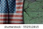 usa flag on a wood background... | Shutterstock . vector #552512815
