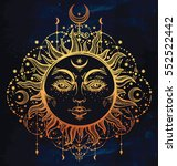 sun and moon. vintage bohemian... | Shutterstock .eps vector #552522442