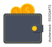 wallet with gold coins vector... | Shutterstock .eps vector #552526972