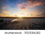 airport runway with airplanes... | Shutterstock . vector #552536182