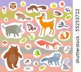vector forest animals | Shutterstock .eps vector #55253722