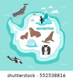 antarctic continent map with... | Shutterstock .eps vector #552538816