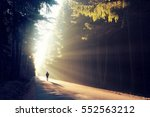 one man on his way in a magical ... | Shutterstock . vector #552563212