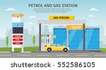gas filling station vector flat ... | Shutterstock .eps vector #552586105