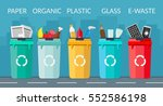 garbage sorting bins recycling... | Shutterstock .eps vector #552586198