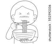 vector set of man eat noodle | Shutterstock .eps vector #552592336