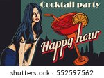 woman flirting. cocktail on the ... | Shutterstock .eps vector #552597562