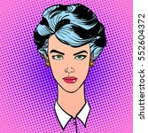 strict woman with short hair.... | Shutterstock .eps vector #552604372