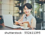 asian young business girl... | Shutterstock . vector #552611395