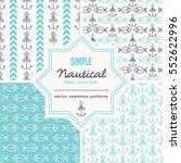 set of nautical seamless... | Shutterstock .eps vector #552622996