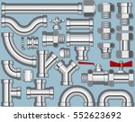 stainless steel pipe production.... | Shutterstock .eps vector #552623692