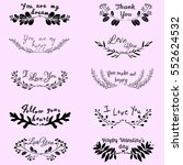 hand drawn lovely romantic... | Shutterstock .eps vector #552624532