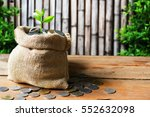 growing plant on bag of coins... | Shutterstock . vector #552632098