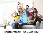 soccer fans with france flag... | Shutterstock . vector #552635482