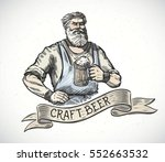 happy brewer or craftsman's... | Shutterstock .eps vector #552663532