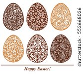 set of decorated chocolate eggs.... | Shutterstock .eps vector #552668026