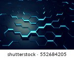 glowing blue hexagon pattern... | Shutterstock . vector #552684205