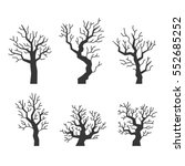 black tree silhouettes set on... | Shutterstock .eps vector #552685252