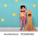Child Girl An Astronaut Costume - Fine Art prints